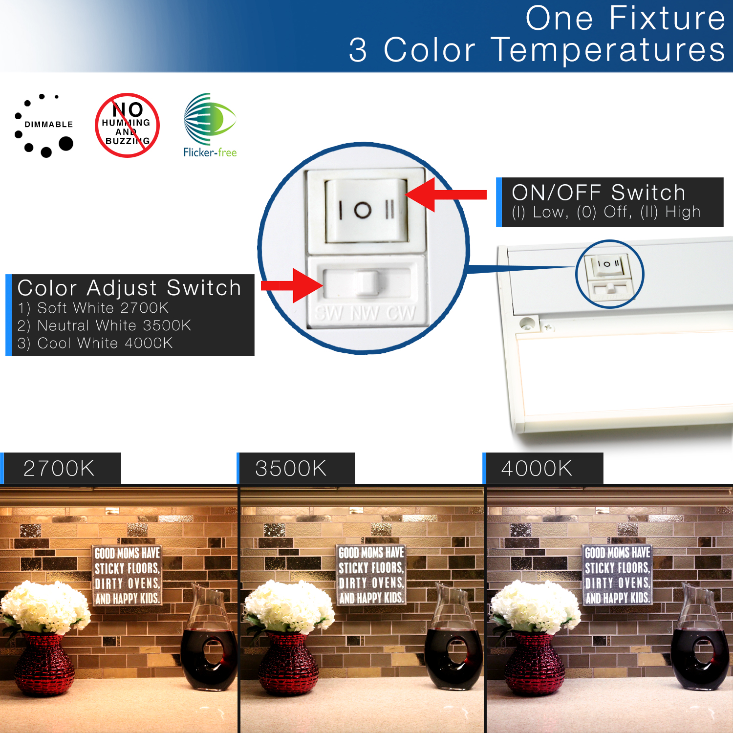 Uc3cct 32 Wh Led Under Cabinet Light Britelum 3 Way Switch Buzzing Category